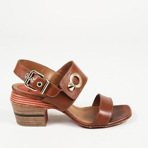 FENDI leather block heel sandals